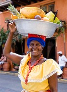 Fruit sales, people, Cartagena, Colombia, Central South America