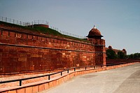 Defensive wall of a fort, Red Fort, Delhi, India