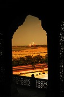 Mausoleum viewed through a balcony of the fort, Agra Fort, Taj Mahal, Agra, Uttar Pradesh, India