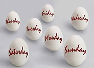 Egg with weekdays´ names