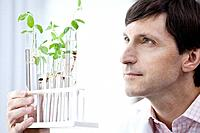 Male scientist examining seedlings in test tubes