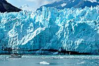 Boat Giving Scale to Massive Tidewater Margerie Glacier