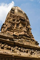 Low angle view of a temple, Khajuraho, Chhatarpur District, Madhya Pradesh, India