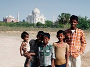 Portrait of children in front of a mausoleum, Taj Mahal, Agra, Uttar Pradesh, India