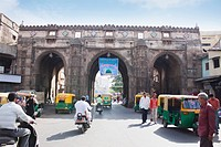 Historic gateway in a city, Teen Darwaja, Ahmedabad, Gujarat, India