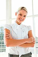 Businesswoman wearing white blouse, portrait (thumbnail)