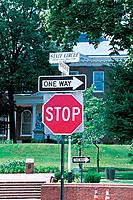house, traffic signal, building, street, signal, sign