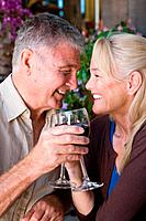Mature couple having wine