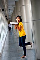 Pretty College Girl Cute Pose Textbooks