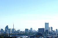 Tokyo cityscape under sky, copy space, Tokyo prefecture, Japan