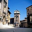 Buildings in Piazza Mantegna including Rotonda. Pigeon.