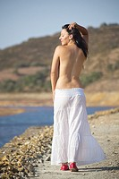 Nude Romanian woman in nature in Rio Tinto, Spain