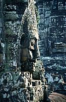 Head. Bayon. Upper and lower terraces. Temple grounds
