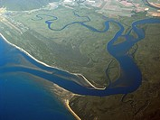 Aerial view of the mouth of the Daintree River, Daintree National Park, Queensland, Australia