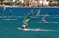 Windsurfing at Vasiliki bay, Lefkada island, Greece