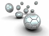 Group of balls. Soccer. 3d