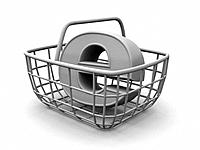 Consumer´s basket with symbol for internet. 3d