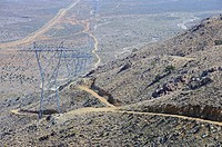 Large power lines, Providence Mountains, Mojave Desert, California, USA