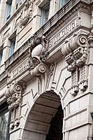Carved exterior facade of the Old South Building in Boston, Massachusetts, USA