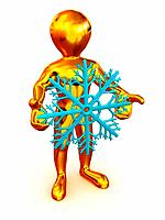 Man with snowflakes. 3d