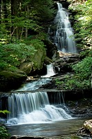 Multiple waterfalls snake through the landscape at Rickett's Glen State Park, Pennsylvania, USA