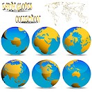 earth globes against white background, abstract vector art illustration