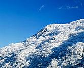 Frosted mountain and sky. Oita Prefecture, Japan
