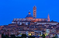 Duomo cathedral at dusk, Siena, UNESCO World Heritage Site, Tuscany, Italy