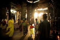 Inside the Temple of Sri Meenakshi  Madurai, Tamil Nadu, India, Asia