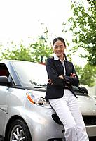 Portrait of Mid_Adult Woman by Smart Car