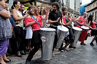 Batucada. The percussion group Samba da rua performing in the streets of Llanes during the festival of San Roque 2011