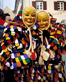 Swabian-Alemannic Fastnacht, masks carnival, carnival fools, colourful costumed, D-Weingarten, Upper Swabia, Baden-Wuerttemberg