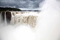 Mist rises at Iguazu Falls in Iguazu, Argentina.
