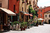 Street Scene With Roadside Café, Tuscany, Italy