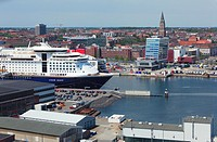 D-Kiel, Kiel Fjord, Baltic Sea, Schleswig-Holstein, panoramic view across the Kiel harbour to the city centre, Color Line ferry at terminal Norwegenka...