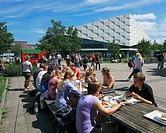 D-Kiel, Kiel Fjord, Baltic Sea, Schleswig-Holstein, Christian-Albrechts University, Campus, Audimax, Auditorium Maximum, students have a lunch outdoor...