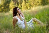 A young caucasian woman outdoors in Spokane, Washington, USA.