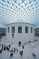 British Museum central courtyard. Architects Caro,Foster. Glass roof. People. EducationArchitectureHistorical