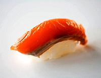 Close up of sockeye salmon sushi, also called nigirizushi.