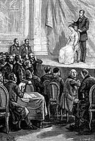 Hypnosis demonstration. 19th_century artwork of a hypnotist inducing hypnosis in a woman on a stage in front of a watching audience. Hypnotism in the ...