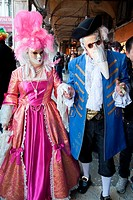 Two people in costume during Carnivale in Venice, Veneto, Italy