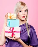 blonde woman with present