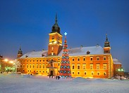 Warsaw, Royal Castle in Christmas time, Poland, Europe