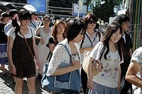 Japan, Tokyo, Harajuku, Takeshita Dori, Street, shopping, shoppers, group, crowd, Asian, teen, girl, boy,