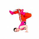 Female Hip hop Dancer stands on her head On white Background