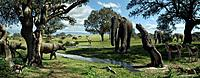 Wildlife of the Miocene era. Computer artwork of Gomphotherium sp. prehistoric proboscids and rhinoceros_like animals wandering the grassy plains of E...