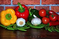 A selection of vegetables for use in Mediterranean cooking