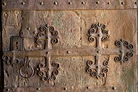 Church, main door detail, Ahedo de Butrón, Burgos province, Castilla-León, castille-Leon, Spain