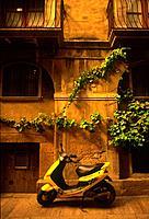 yellow motorbike Tarragona Catalonia Spain