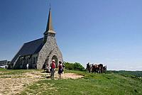 Haute Normandie. Seine Maritime. Notre Dame De La Garde Chapel. Walkers. Horses.
